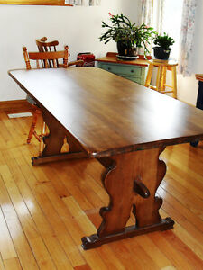 Solid Oak Trestle Table