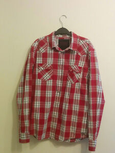 GUESS Red Plaid Long Sleeve Shirt (Large)