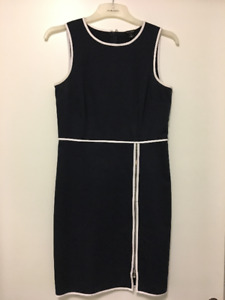 Ann Taylor Piped Navy Dress