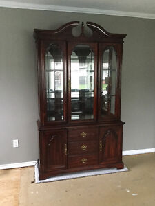 cherry wood buffet and hutch