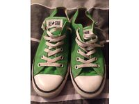 Green and white Converse