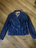 Danier blue leather jacket size 12 UK (size 8-10 can)