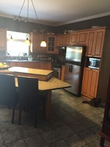Kitchen cupboards, counters, island, sink, faucet, etc.