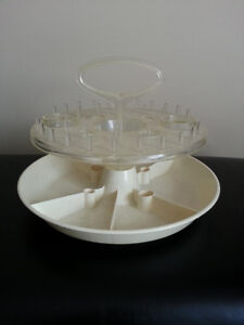 Vintage Rubbermaid sewing, lazy Susan style storage caddy