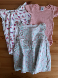 3-6m baby girls: dress, romper and vest