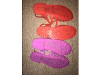 Two pairs of matching jelly sandals size 6