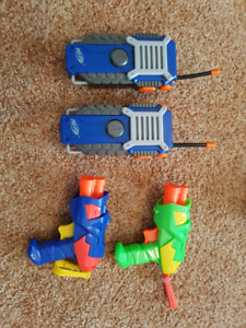 2 nerf walkie talkies and 2 guns