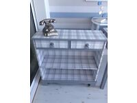 Shabby Chic Grey tartan Drawer Unit / Console Table