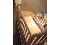 Mamas and Papas cot bed with matress and 3 sets of bedding