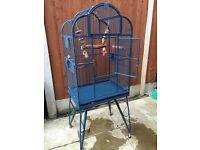 Large blue parrot cage