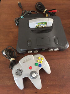 Nintendo 64 console with Turok game and controller