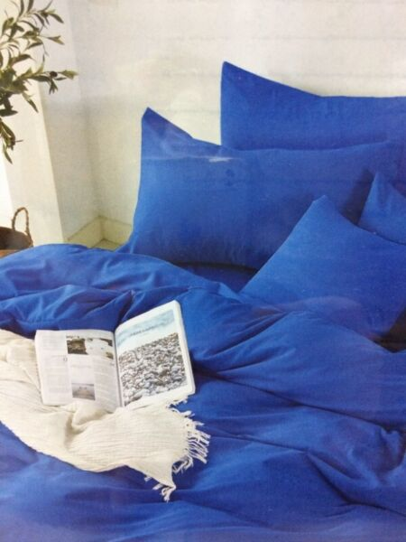 QUEEN BED COBALT BLUE Fitted BedSheet +2 Pillowcases Set ALSO MANY Other COLORS and SHADES AVAILABLE