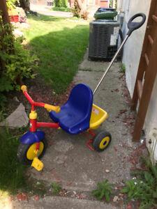 Kettler Jr. Tricycle w/pushbar, handbrake & sand bucket in EUC