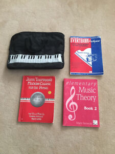 Piano bag and 3 music books