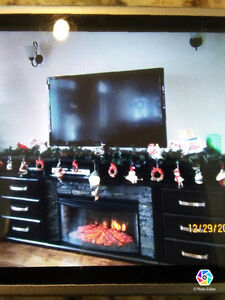 solid wood Tv stand with electric fireplace