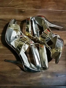 Women's size 8 silver and gold high heels