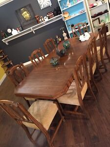 SOLID OAK TABLE AND 8 chairs