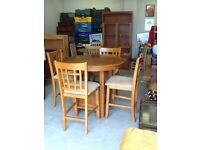 Boston oak extending table and 4 chairs
