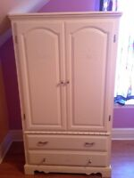 Solid Oak Armoire & Pub Style Table & 2 Chairs/MOVING SALE SUN.