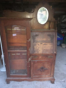 Antique Hutch Unit with Shelving, $75