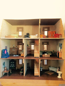 All Wood Dollhouse - fully furnished as-is