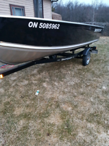 14' aluminum boat,25hp outboard and trailer