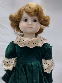 17 Inch Vintage Porcelain Doll as original! Viewing on garden table!!l