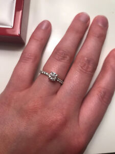 Ladies 14k White Gold French-Cut Pave Diamond Engagement Ring
