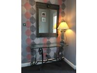 Versace mirror, console table, lamp