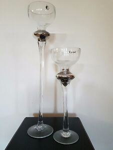 BNIB Matching Pair of Glass Candle Sticks