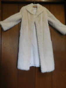 White Mink Tail Full Length Coat ( Pearl ) With matching Hat