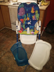 Fisher Price Slim Fold High Chair-Harness,Trays,Heights,Recline,