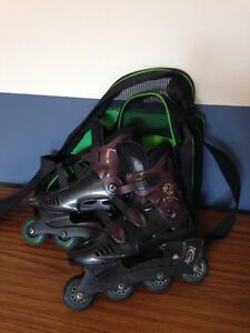 Rollerblades with bag and wrist protector