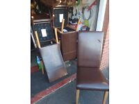 Dining Chairs - 6 in Brown Leather