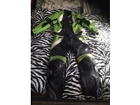 Green white and black leathers
