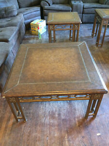 Brown Leather coffee table plus 2 matching side table