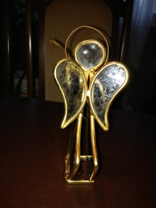 Angel Figure Gold plated W Blue Glass