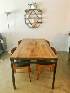 Reclaimed Wood & Iron Dining table!