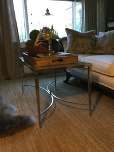 Mirror and polish nickel coffee table