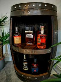 Home bar - Drinks cabinet - Whisky barrel- oak barrel Homemade rustic