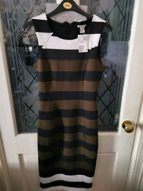 Ladies Size Small H&M striped Lycra Dress With Tags