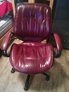 Burgundy Real Genuine Leather Office Computer Chair