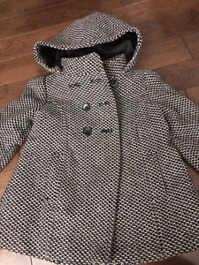 Girls Grey/black pea coat Size 4