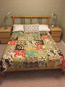 Full Ikea bed (frame + mattress) and 2 matching end tables Edmonton Edmonton Area image 1