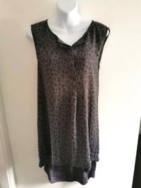 H&M Size 42 (US 12 / UK 14) grey and dark grey animal print swing vest for sale  Bury St Edmunds, Suffolk