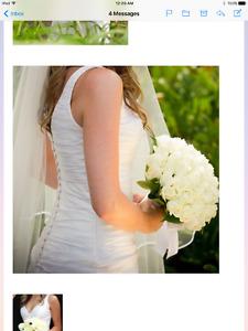 Designer wedding gown and veil