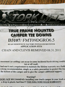 Torklift camper tiedowns for dodge half ton
