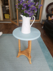 Occasional/wine table - light oak/duck-egg blue