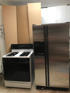 GE gas oven/range + SS Fridge/freezer COMBO $500