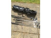 Set of right handed golf clubs with Dunlop bag vgc